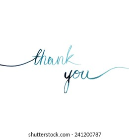 thank you/ blue watercolor words line on a white background/ vector illustration