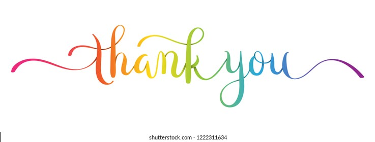 THANK YOU brush calligraphy banner in rainbow colors