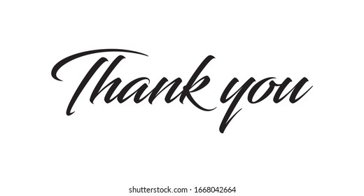 Thank you. Calligraphic typography. Vector illustration.