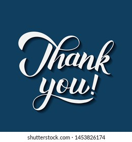 Thank you calligraphy hand lettering on blue background. Vector illustration. Easy to edit template for wedding thank you cards, tags, banners, posters, labels, clothes, etc.