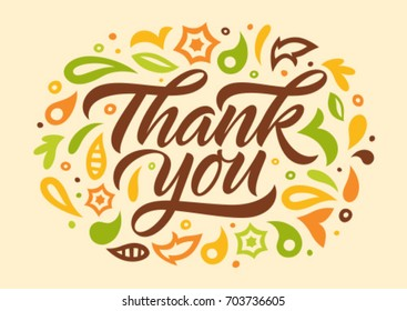 thank you, calligraphy, handwritten text, lettering, decorated with pattern