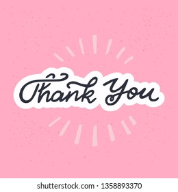Thank you calligraphy lettering text. White outlined handwritten inscription on the cameo pink background. Lovely and cute expression of gratefulness for e card, post card, print, site, blog. Vector