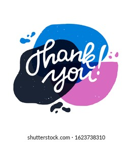 Thank you calligraphy lettering text. Handwritten inscription on trendy liquid blobs abstract banner. Lovely expression of gratefulness for ecard, post, card, print, blog, newsletter, social media.