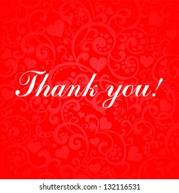 thank you calligraphy text on a red background. Vector Illustration