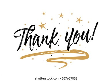 Thank you cards images stock photos vectors shutterstock thank you card beautiful greeting card scratched calligraphy black text word gold stars hand m4hsunfo