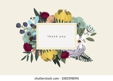 thank you card bouquet on beige background