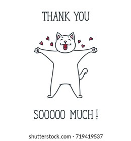 Thank You card with cute cat on a white background. Hand drawn vector illustration