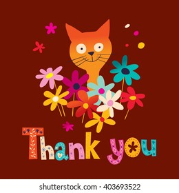 thank you card with cute kitten and flowers