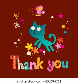 thank you card with cute kitten and butterfly