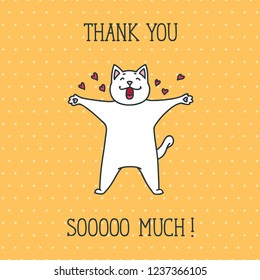 Thank You card with cute white cat on yellow dotted background. Hand drawn vector illustration