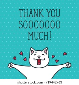Thank You card with cute white cat on dotted background. Hand drawn vector illustration