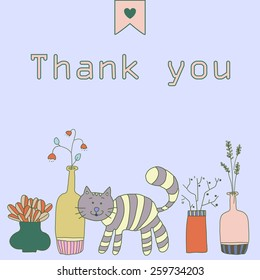 Thank you card. Doodle style.