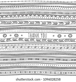 Thank you card in ethnic boho ornate style. Can be used and printed as card, poster, template, placard, textile.