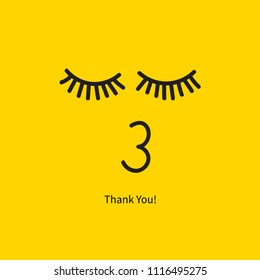 Thank you card, face with kiss and eyes closed. Vector illustration
