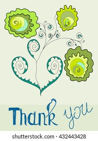 Thank You Card with flowers on a green background. Vector.