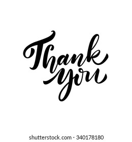 Thank you card. Hand drawn lettering. Ink illustration. Vector illustration. Ink hand lettering.  Dark brush pen lettering.