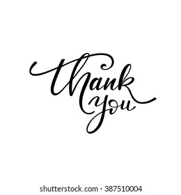 Thank you card.  Hand drawn lettering background. Ink illustration. Modern brush calligraphy. Isolated on white background.
