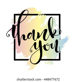 Thank you card. Hand drawn lettering, handmade vector calligraphy. Hand drawn design elements