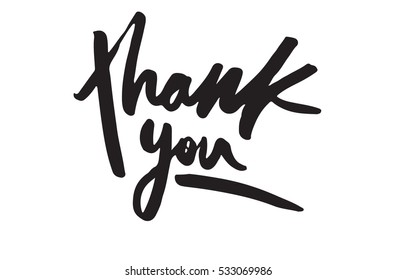Thank you card. Hand drawn ink lettering. Vector illustration.