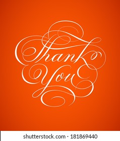 Thank you card hand lettering in script calligraphy style - vector