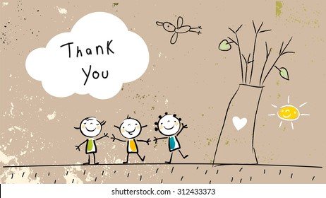 Thank you card with happy kids group near tree, saying thank you in a cloud. Cartoon sketch, doodle, vector illustration.