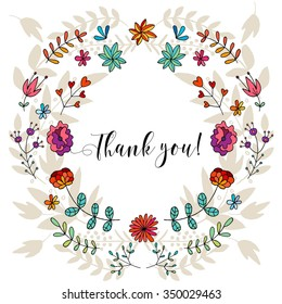 Thank you card, lettering text.Summer pattern. Vector floral set. Graphic collection with leaves and flowers, drawing elements. Spring or summer design for invitation, wedding or greeting cards