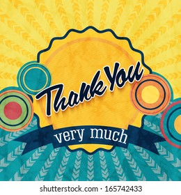Thank you card on colorful grunge background. Gratitude card for different occasions.