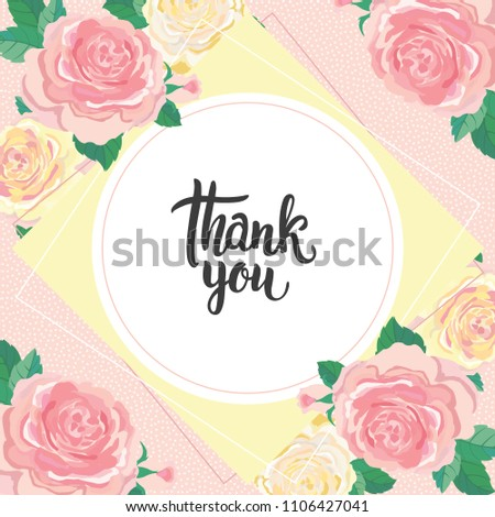 thank you card poster template roses stock vector royalty free