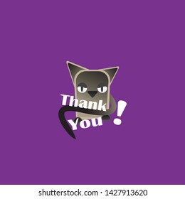 Thank you card, with Siam cat, creative illustration, cute cartoon pet, on purple background, for web and print. Kawaii kitten for greeting cards and emails.