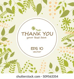 Thank you card. Stylish floral background with text  in vector.