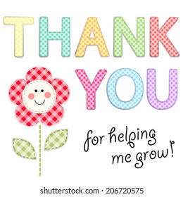 Thank you teacher images stock photos vectors shutterstock thank you card for teacher with retro gingham fabric letters as applique spiritdancerdesigns Choice Image