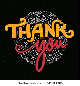 Thank you card template with handmade lettering. Text for stores and social media. Orange and pink words on dark background