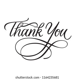 Thank you classic calligraphy greeting card with flourishes on white background