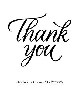 Thank you classic calligraphy greeting card. Modern lettering vector on white background