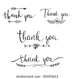 Thank you -collection of labels. Handwritten ink lettering. Hand drawn design elements.