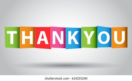 Thank you colorful card. Vector illustration