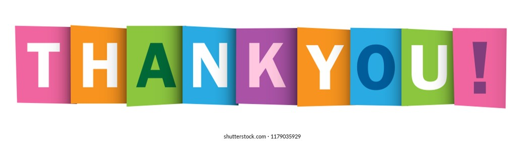 THANK YOU! colorful letters banner