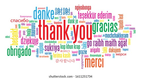 THANK YOU colorful vector word cloud card