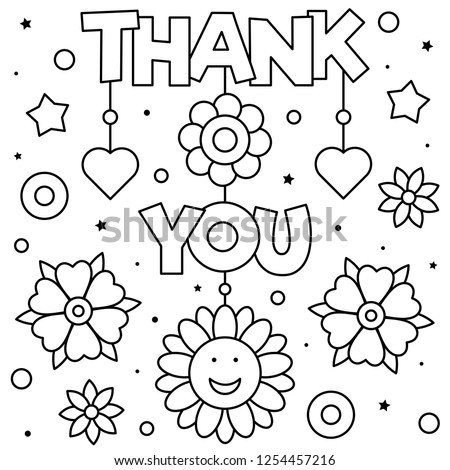 Thank You Coloring Page Black White Stock Vector (Royalty Free ...