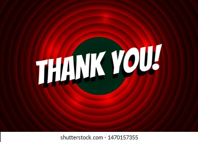Thank you comics font title on red circle background. Old cinema movie round screen. Vector greeting card illustration