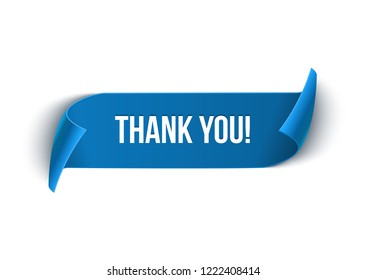 Thank you curved paper ribbon banner. Vector sign illustration.