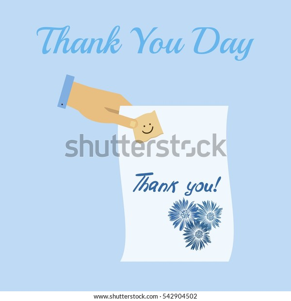 Thank You day. Hand lettering vector calligraphy. greeting card. Flat design style