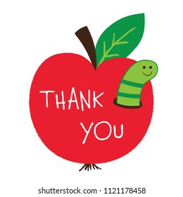Thank you Teacher's Day vector card with an apple and a worm