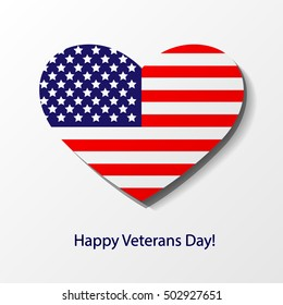 Thank You Day. Veterans day greeting card with a heart. Honoring all who served. Usa flag. Theme: veterans day, 11th November, patriotism, holiday, war, peace, happiness, pride, America, USA, parade.