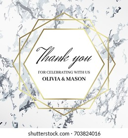 Thank you design template. The inscription celebrating with names. White marble background and gold geometric pattern. Dimensions 130x130 mm and 3 mm bleed size. Seamless pattern included. Eps10.