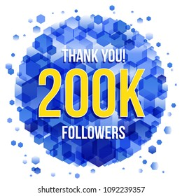 Thank you design template for social network and follower. 200k Followers