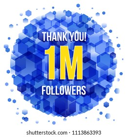 Thank you design template for social network and follower. 1M Followers.