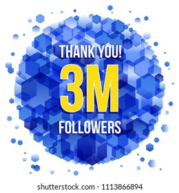 Thank you design template for social network and follower. 3M Followers.