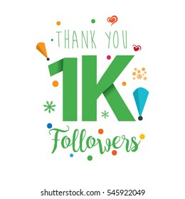 Thank you design template for social network and follower. Web user celebrates a large number of subscribers or followers. 1K Followers