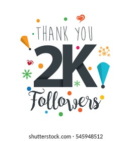 Thank you design template for social network and follower. Web user celebrates a large number of subscribers or followers. 2K Followers
